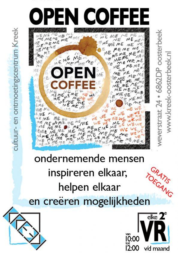 aankondiging voor de open coffee elke 2e vrijdag van de maand